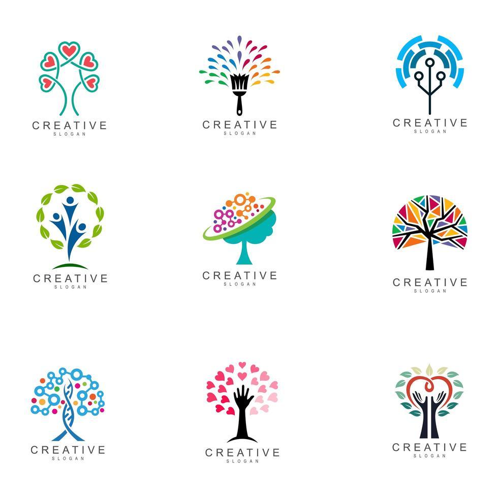 set logo albero creativo astratto vettore