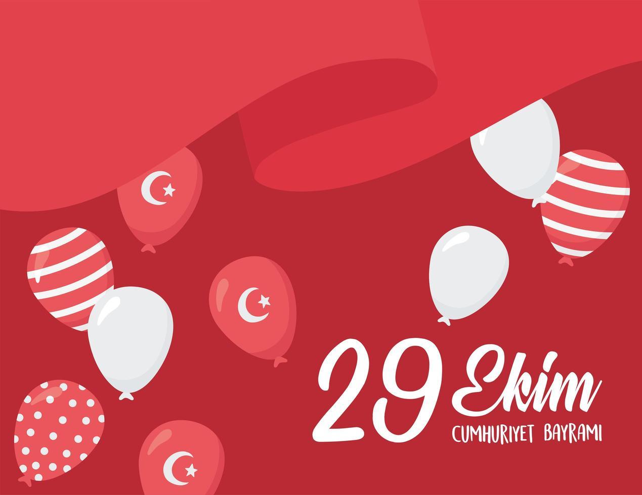 festa della repubblica della turchia. sventolando la bandiera con la decorazione di palloncini vettore