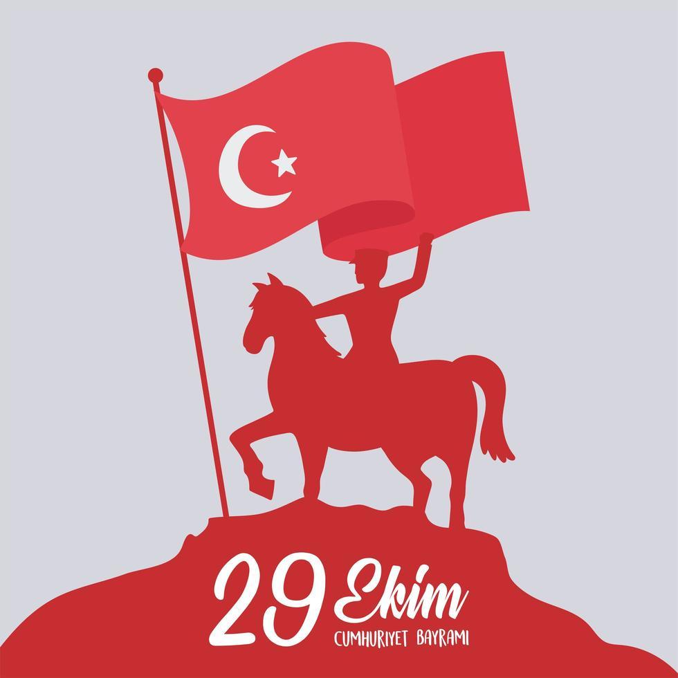 festa della repubblica della turchia. soldato sagoma rossa a cavallo vettore