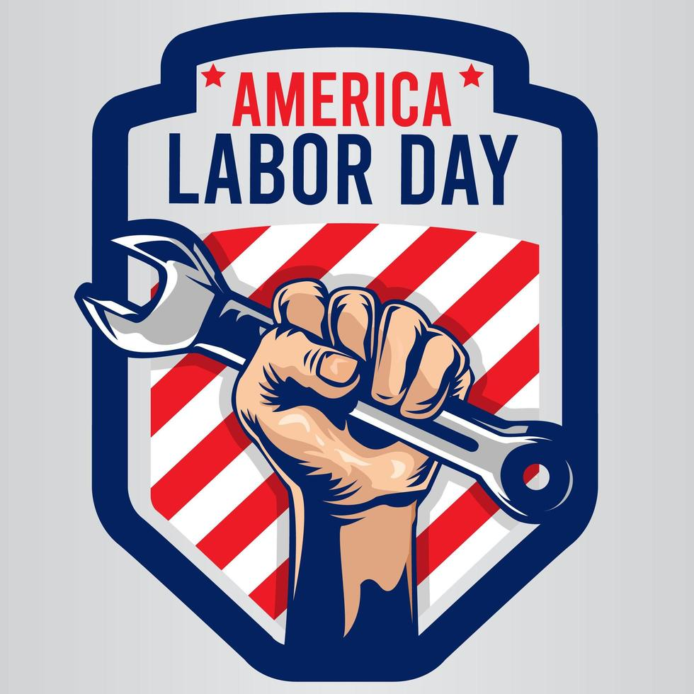 emblema della festa del lavoro in america con chiave inglese vettore