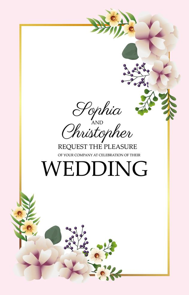 invito a nozze verticale con cornice floreale vettore