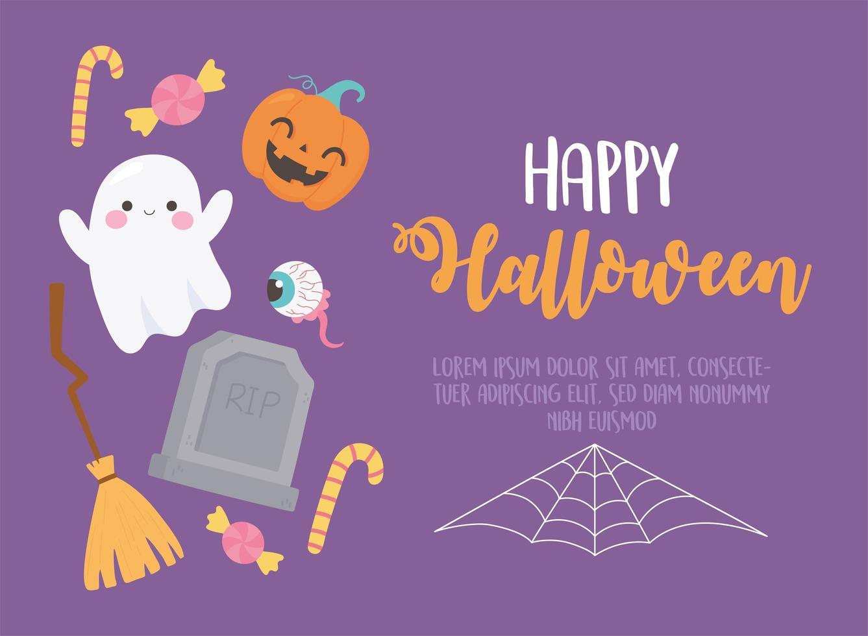 felice Halloween. fantasma, occhio inquietante, lapide e zucca vettore