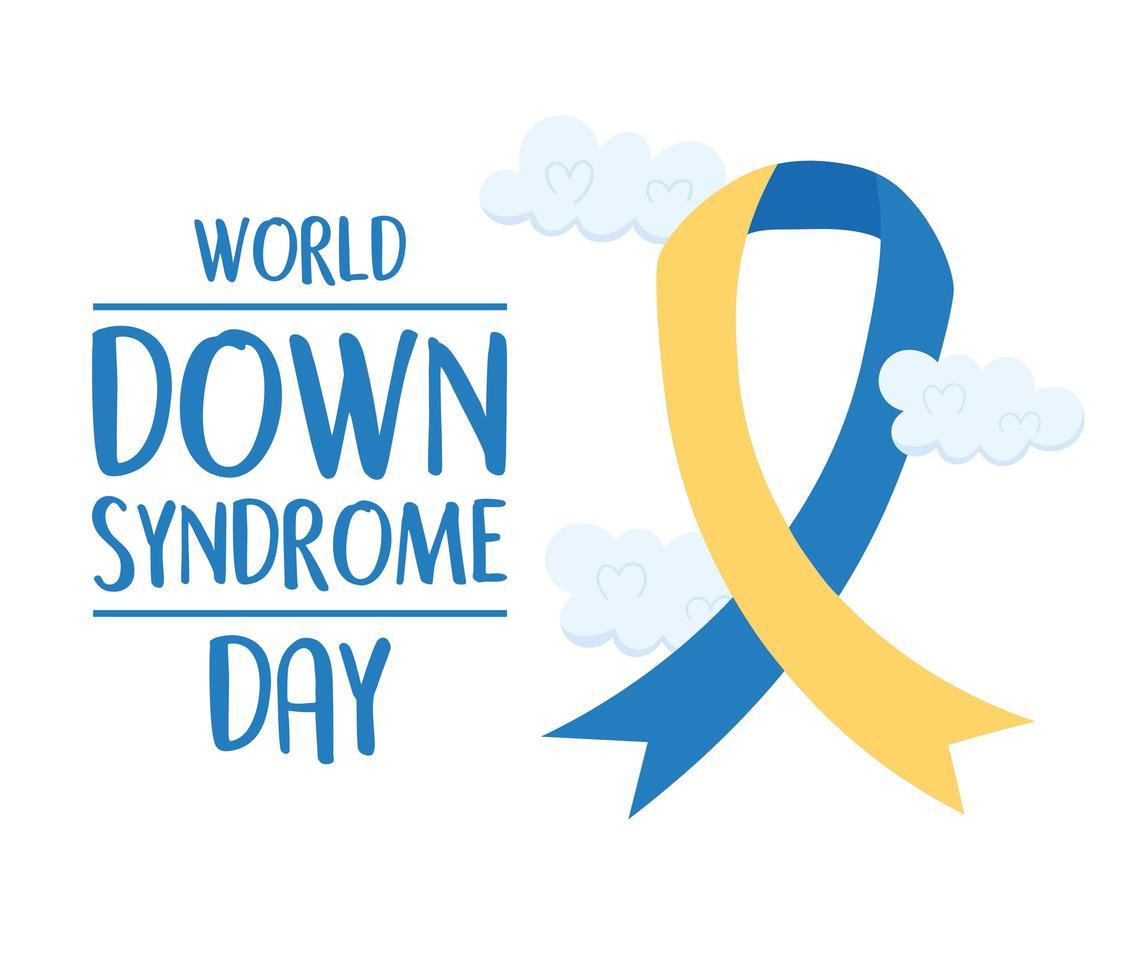 giornata mondiale della sindrome di down. nastro di consapevolezza dell'iscrizione vettore