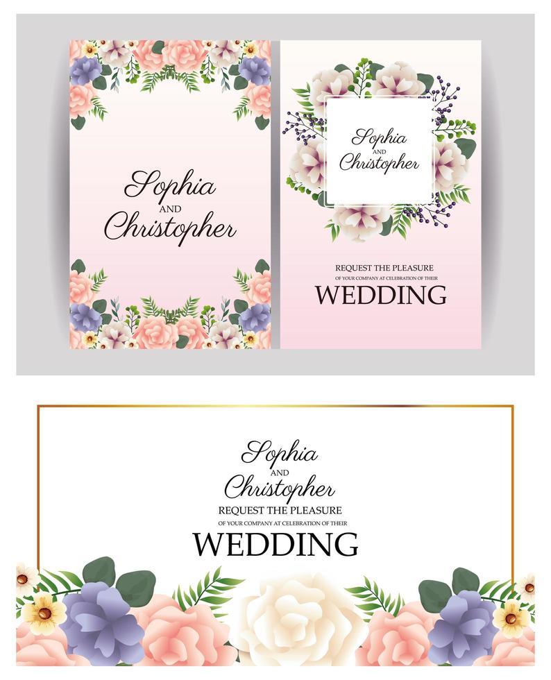 invito a nozze con set di cornici floreali vettore