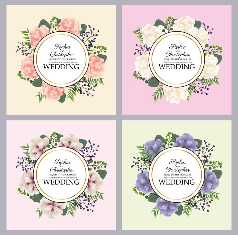 invito a nozze con set di cornici circolari floreali vettore