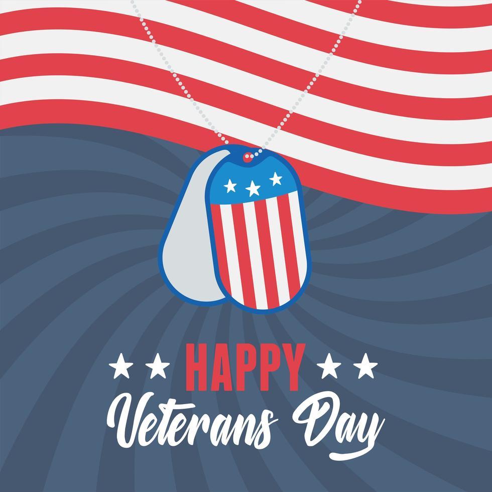 Felice giorno dei Veterani. token dell'esercito sulla bandiera americana vettore