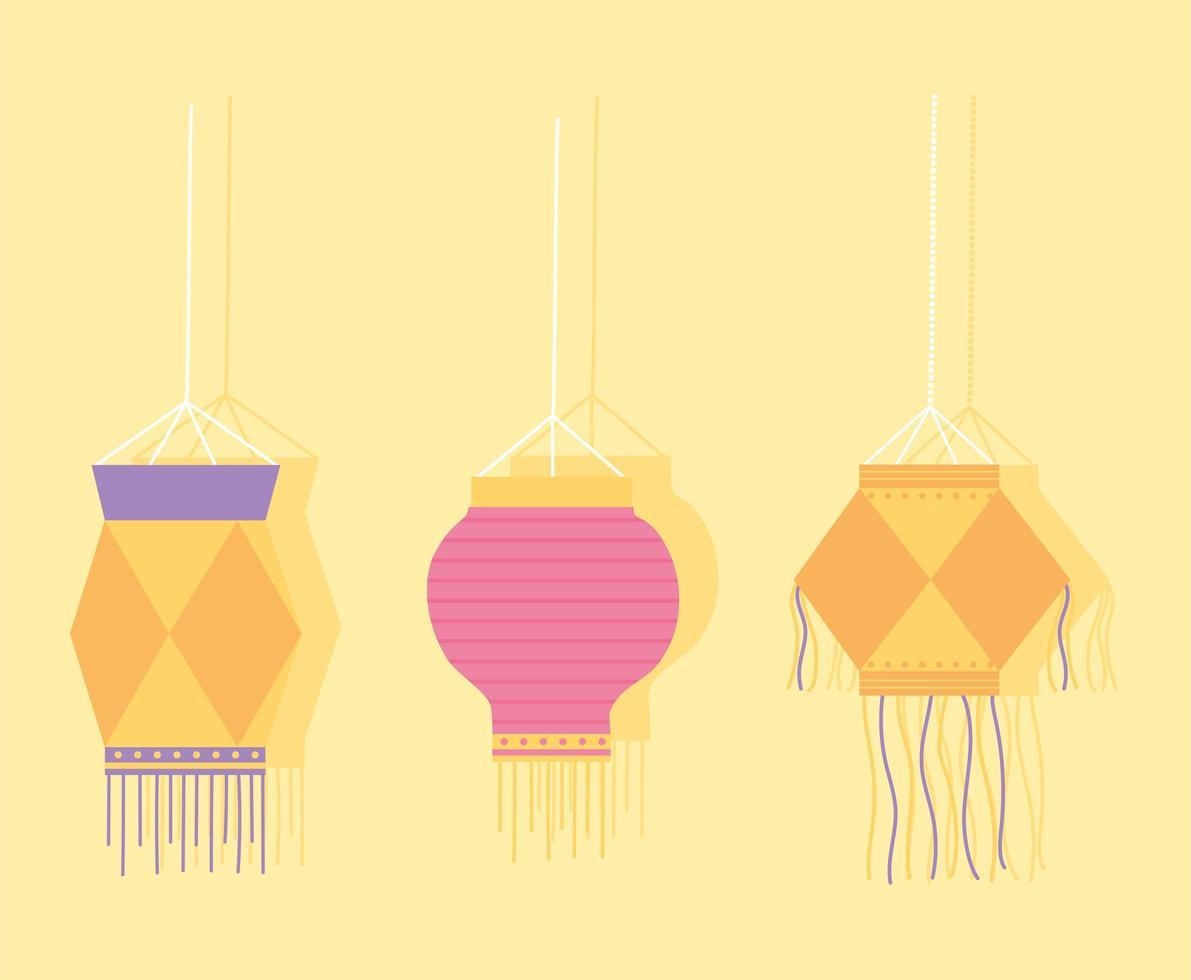 felice festival di diwali. lampade a sospensione decorative vettore