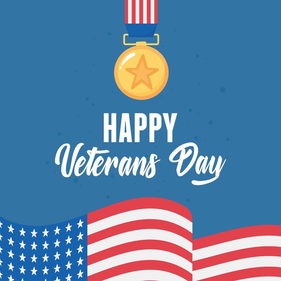 Felice giorno dei Veterani. premio medaglia e bandiera americana vettore