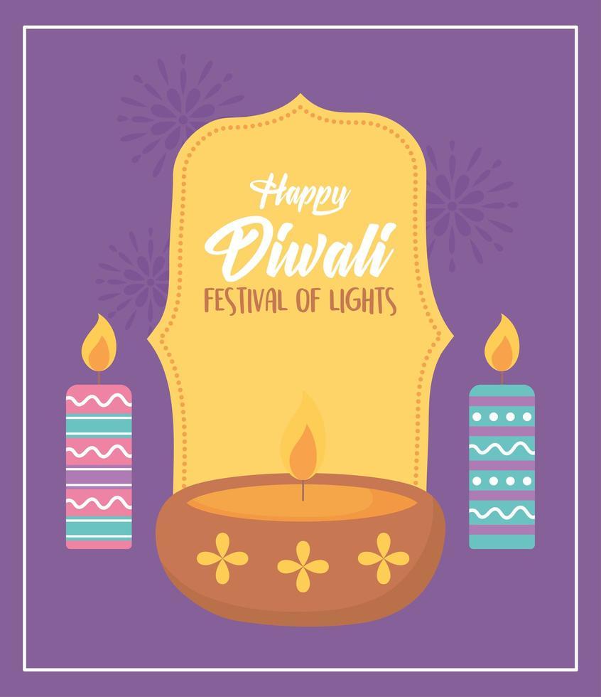 felice festival di diwali. lampada diya e candele accese vettore