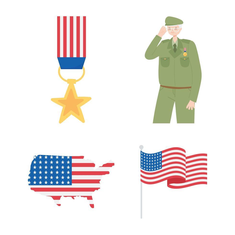 Felice giorno dei Veterani. medaglia, soldato, mappa e bandiera vettore