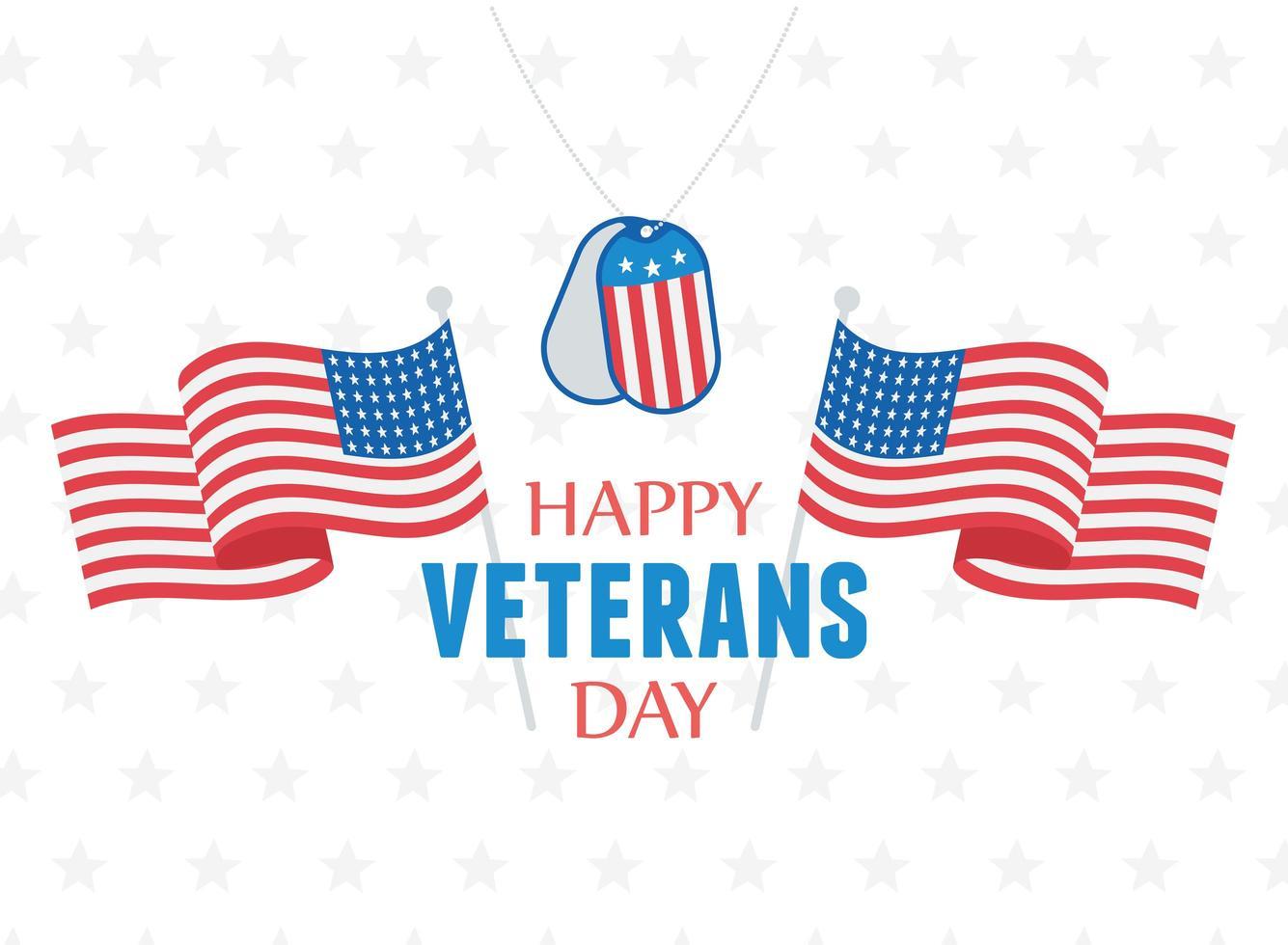 Felice giorno dei Veterani. bandiere, gettone dell'esercito e stelle vettore
