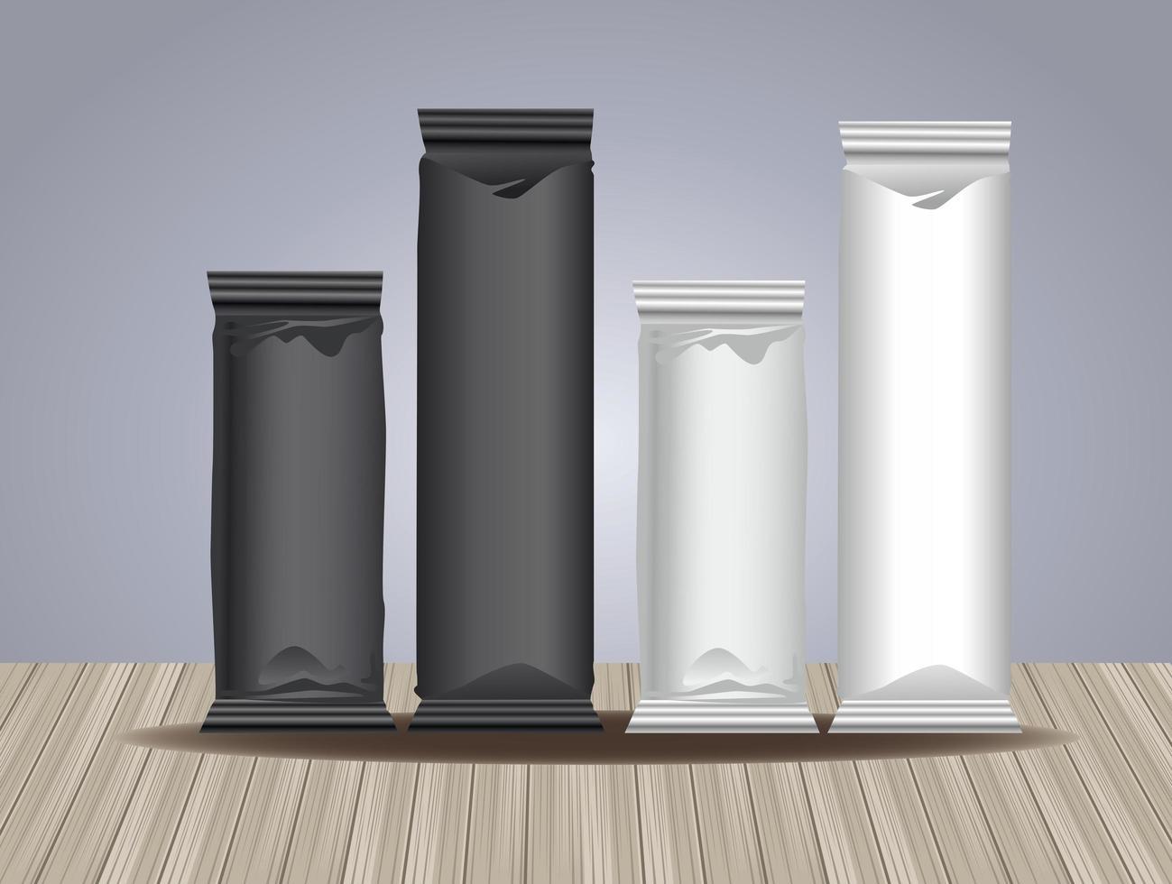 prodotti per imballaggio in bustine in bianco e nero vettore