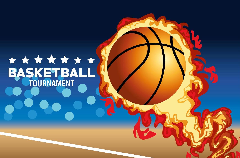 banner del torneo di basket con palla in fiamme vettore