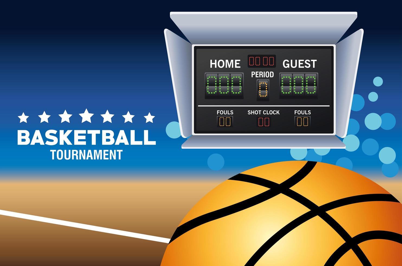 banner del torneo di basket con tabellone segnapunti vettore