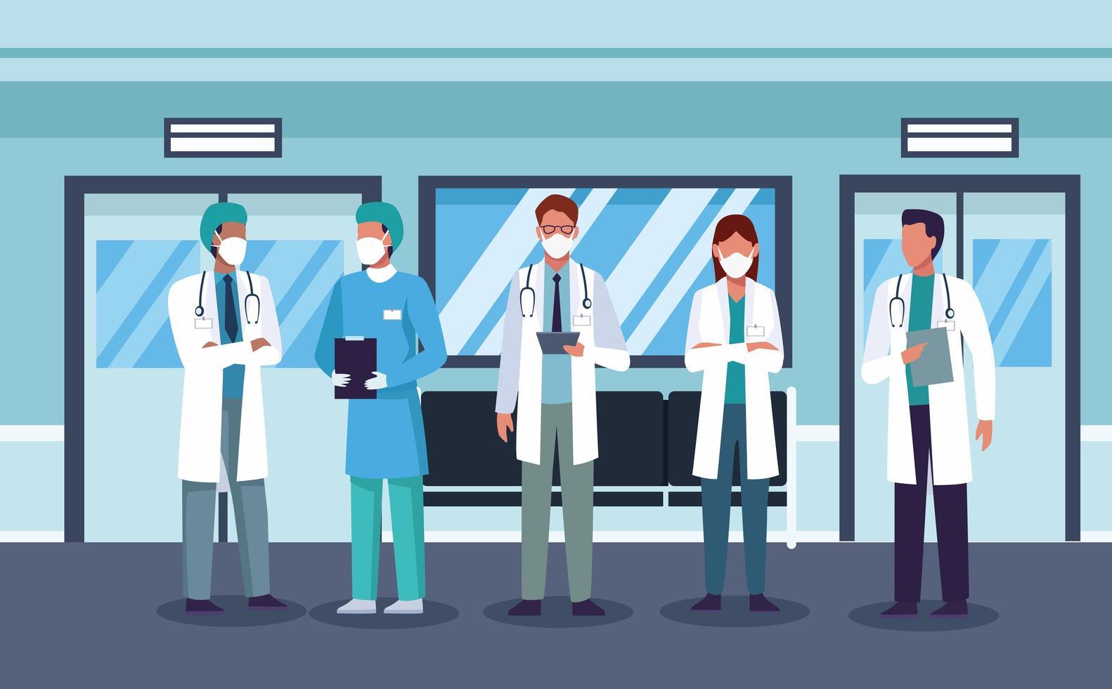 gruppo di medici mascherati, personale dell'ospedale vettore