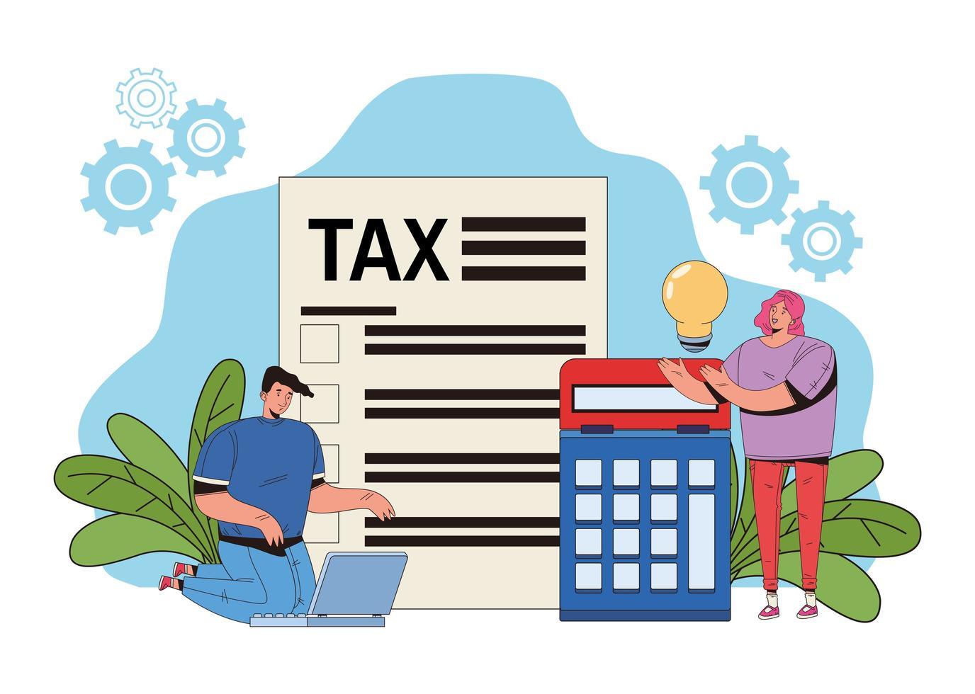 concetto di pagamento delle tasse con persone e calcolatrice vettore