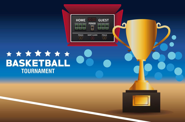 banner del torneo di basket con trofeo vettore