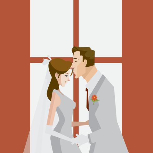 Uno sposo bacia la sua illustrazione della sposa vettore