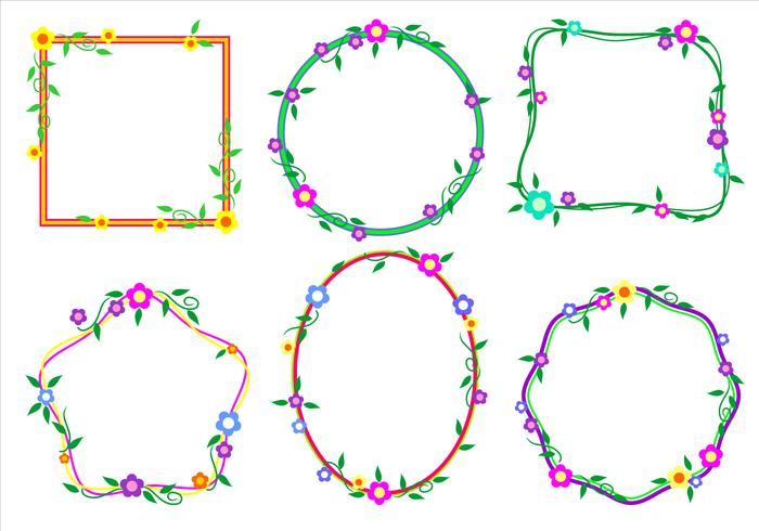Vettore di cornici funky confine floreale
