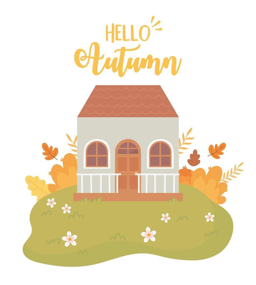 ciao scena autunnale. casa, foglie, cespugli e fiori vettore