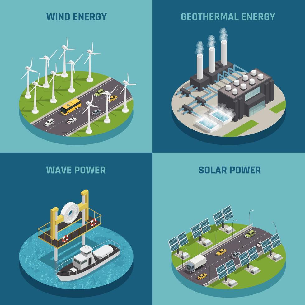 isometrica di ecologia di energia verde vettore