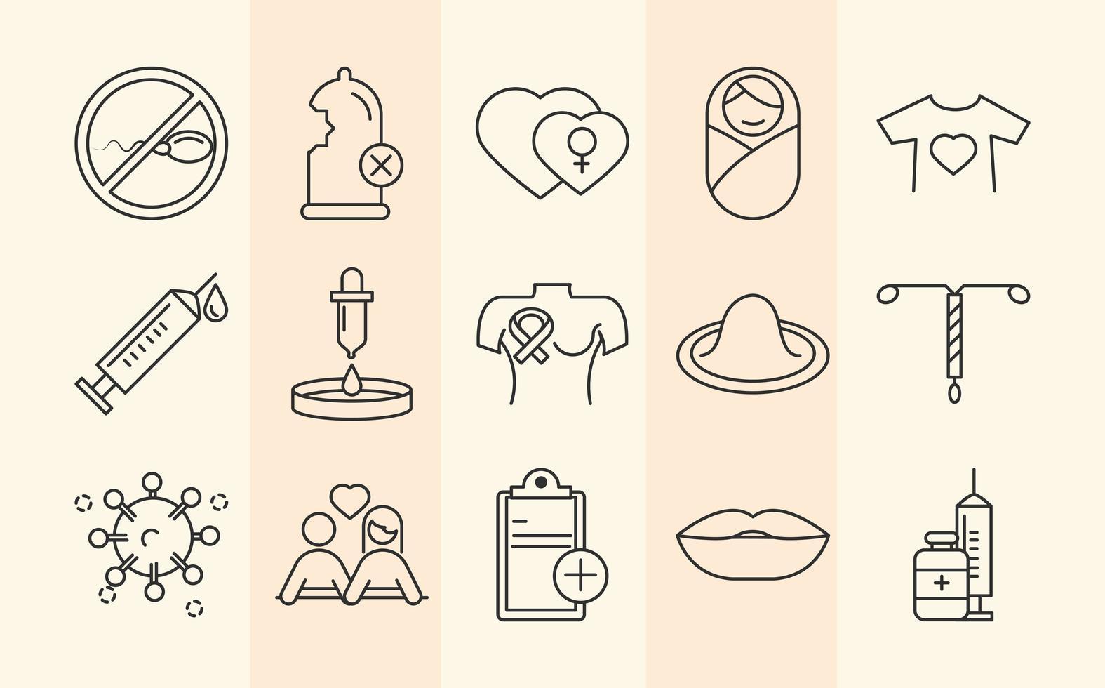 salute sessuale. icone di prevenzione medica di consapevolezza vettore