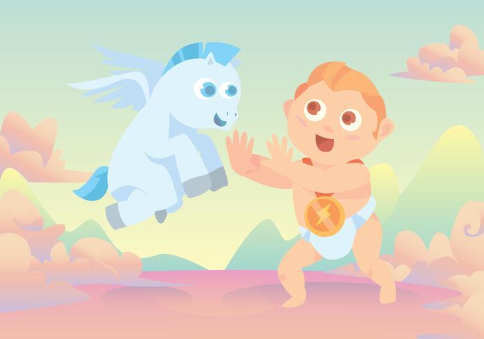 Bambino Ercole e Pegasus Vector
