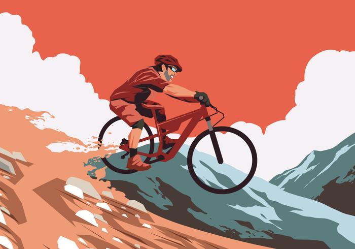 Vettore rosso della traccia della bici di tramonto