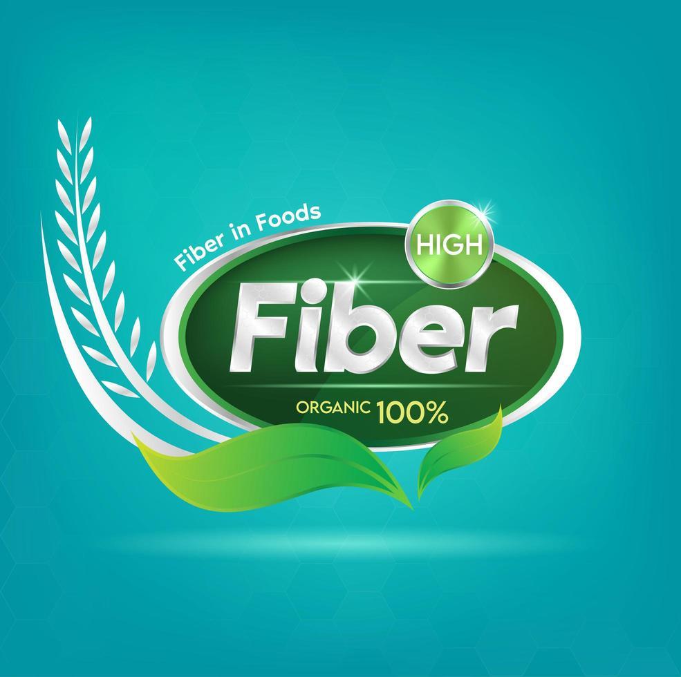 fibra alimentare per il distintivo del concetto di salute e benessere vettore