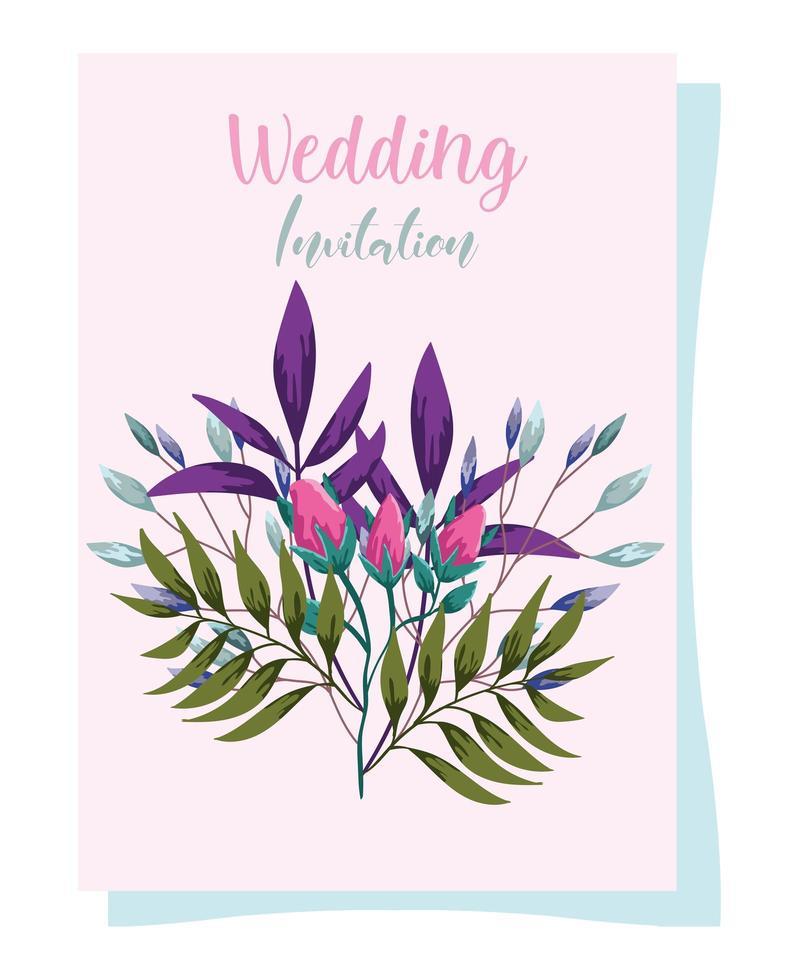 ornamento di nozze fiori decorativi biglietto di auguri o invito vettore