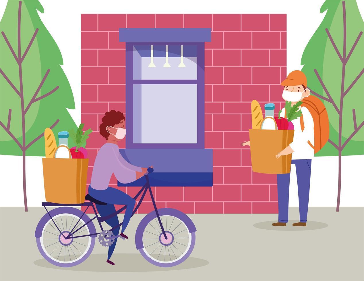 corriere uomo in sella a bici e altri a piedi vettore