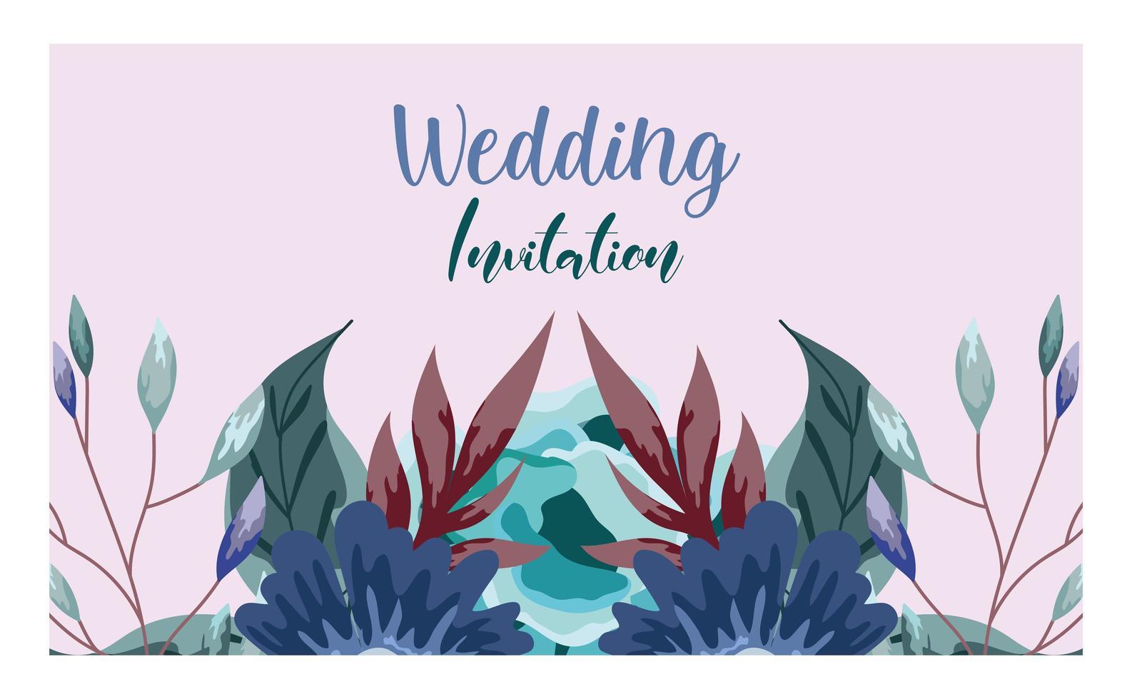 biglietto di auguri di nozze ornamento floreale ed erbe vettore