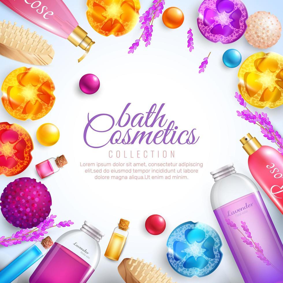 cornice di prodotti cosmetici da bagno vettore