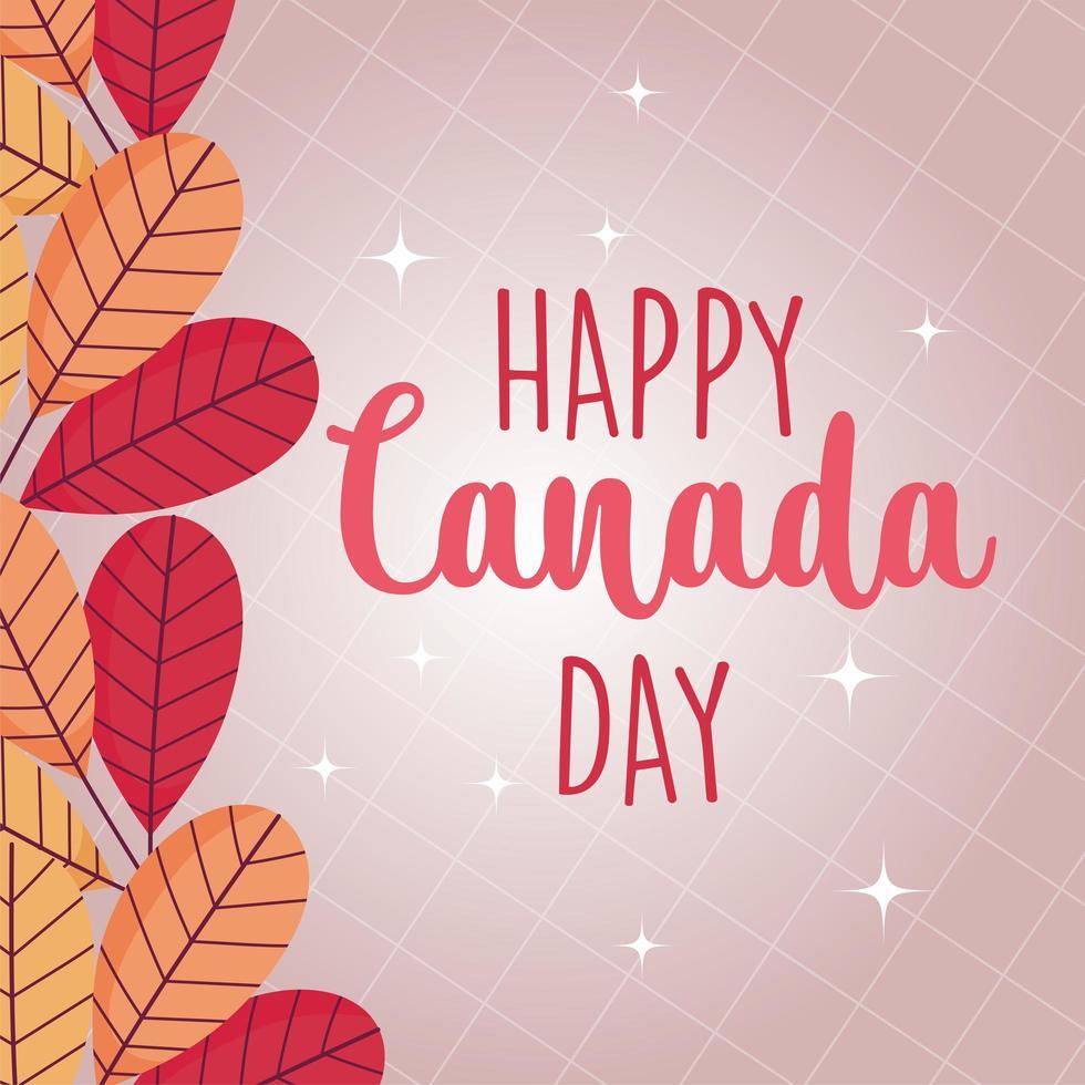 foglie canadesi di disegno vettoriale felice giorno del canada