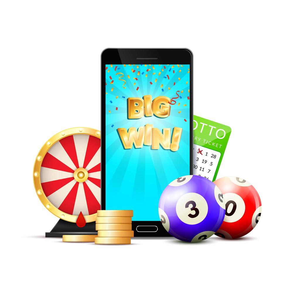 progettazione di app per dispositivi mobili della lotteria vettore