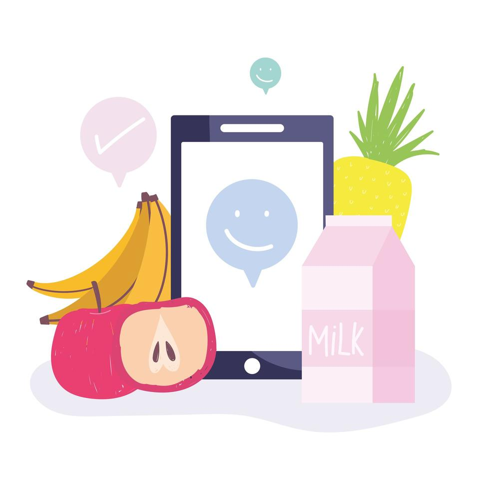 mercato online. smartphone, frutta e latte vettore