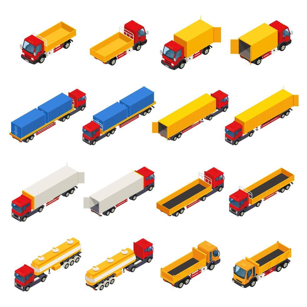 set isometrico di camion vettore
