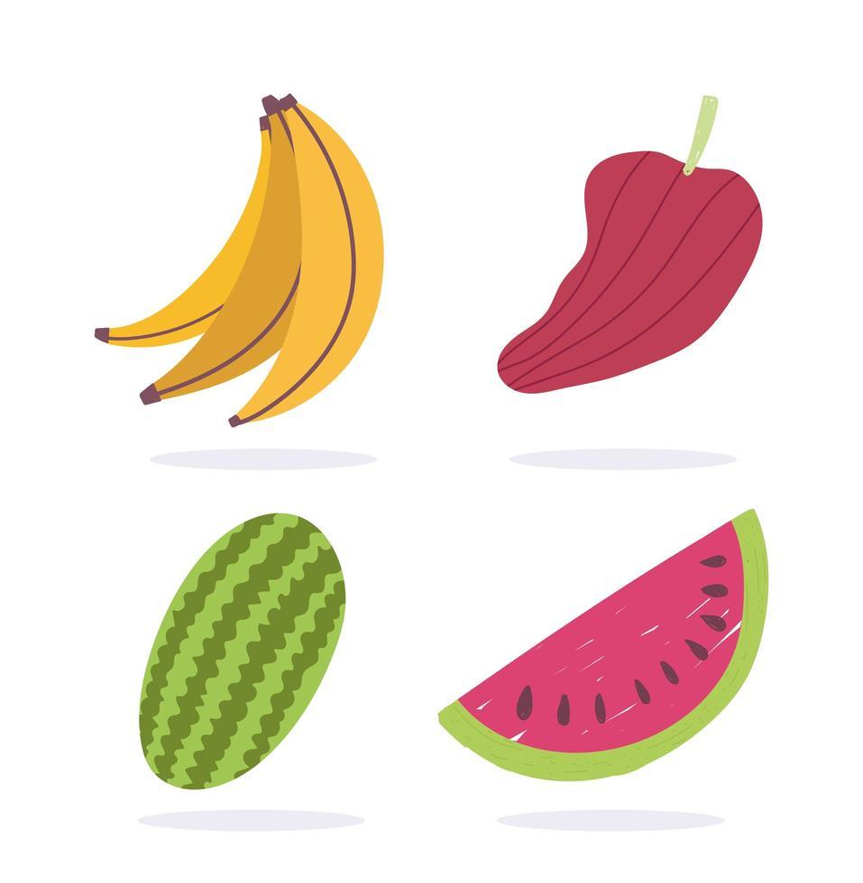 banana, anguria e pepe vettore