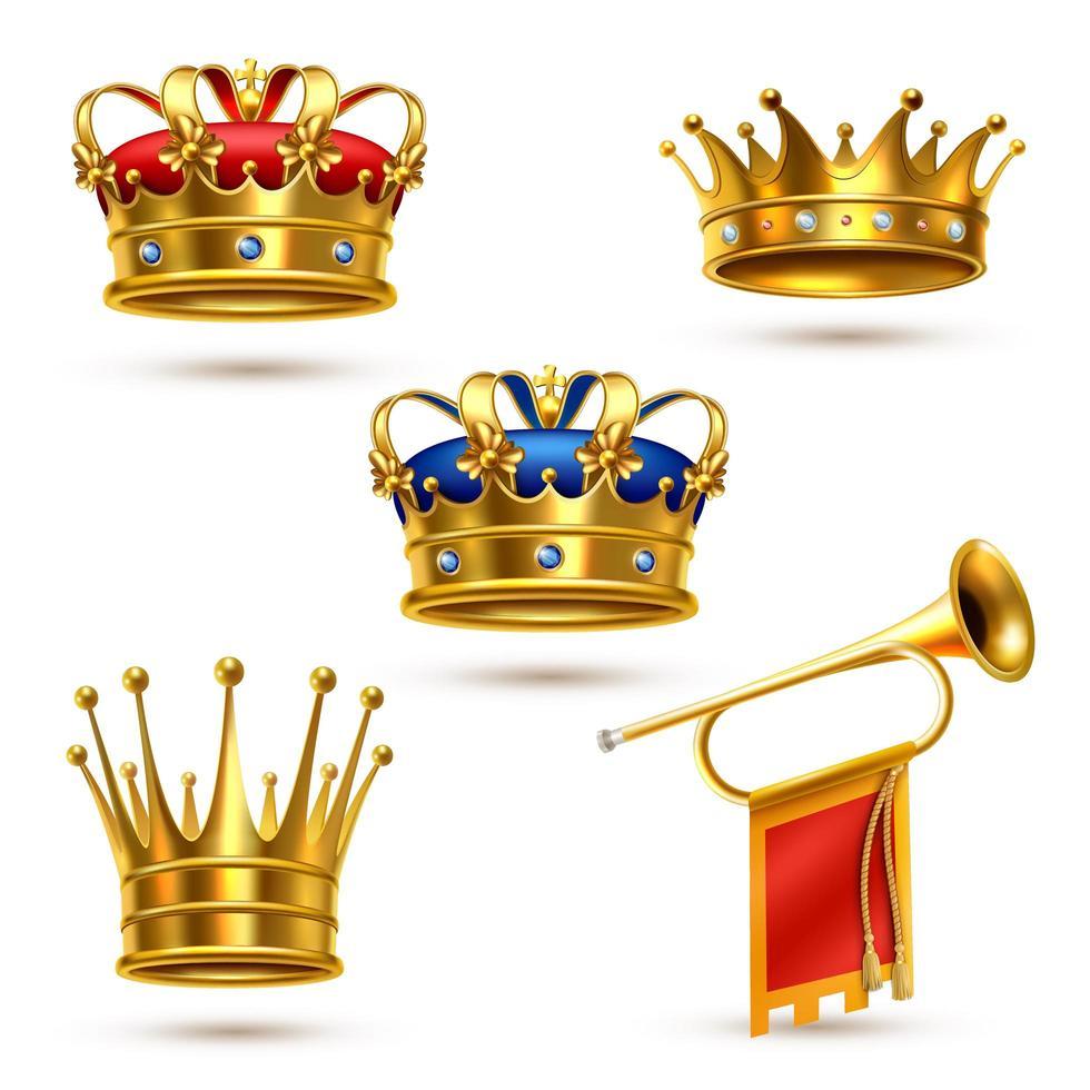 corona reale e set di corno vettore