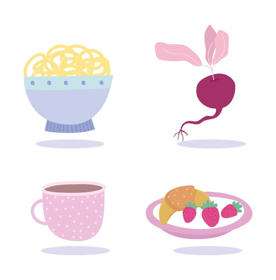 spaghetti, frutta, pane, tazza di caffè e verdura vettore