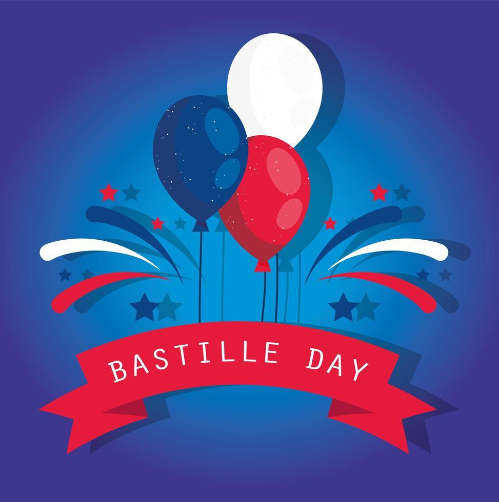 palloncini con nastro di felice giorno della bastiglia vettore