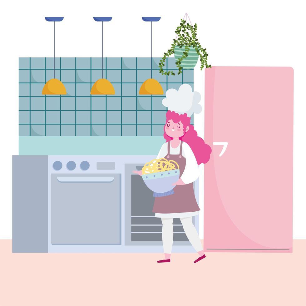 chef femminile con spaghetti in cucina vettore