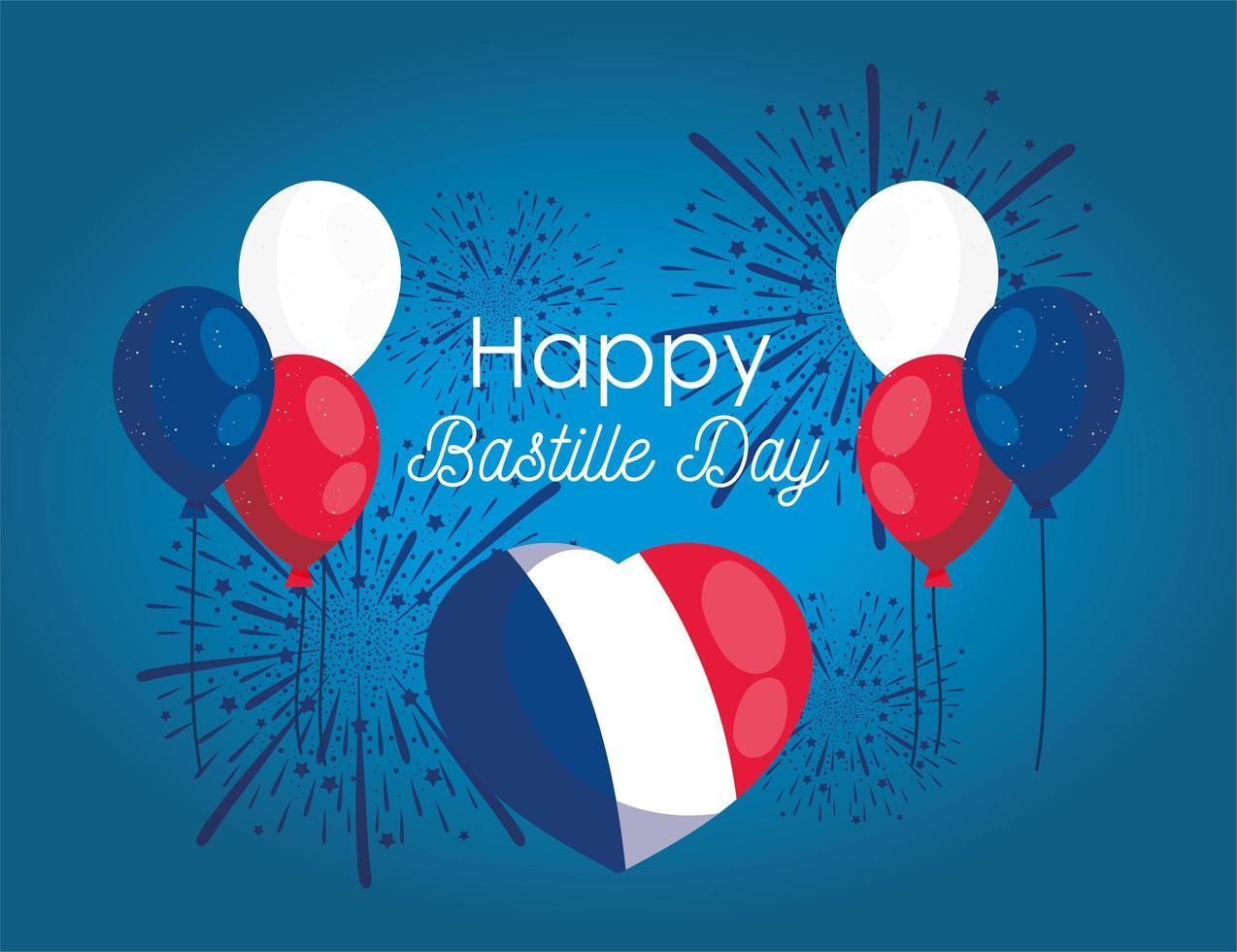 palloncini cuore con fuochi d'artificio di felice giorno della bastiglia vettore