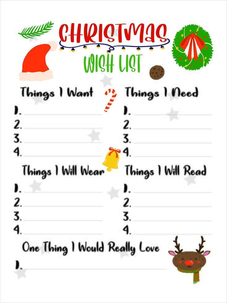 simpatica lista dei desideri di Natale per i bambini vettore