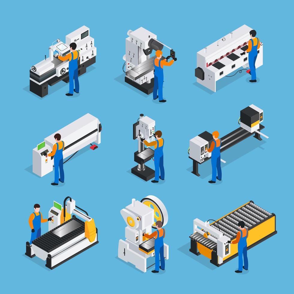 insieme isometrico di macchine e persone per la lavorazione dei metalli vettore