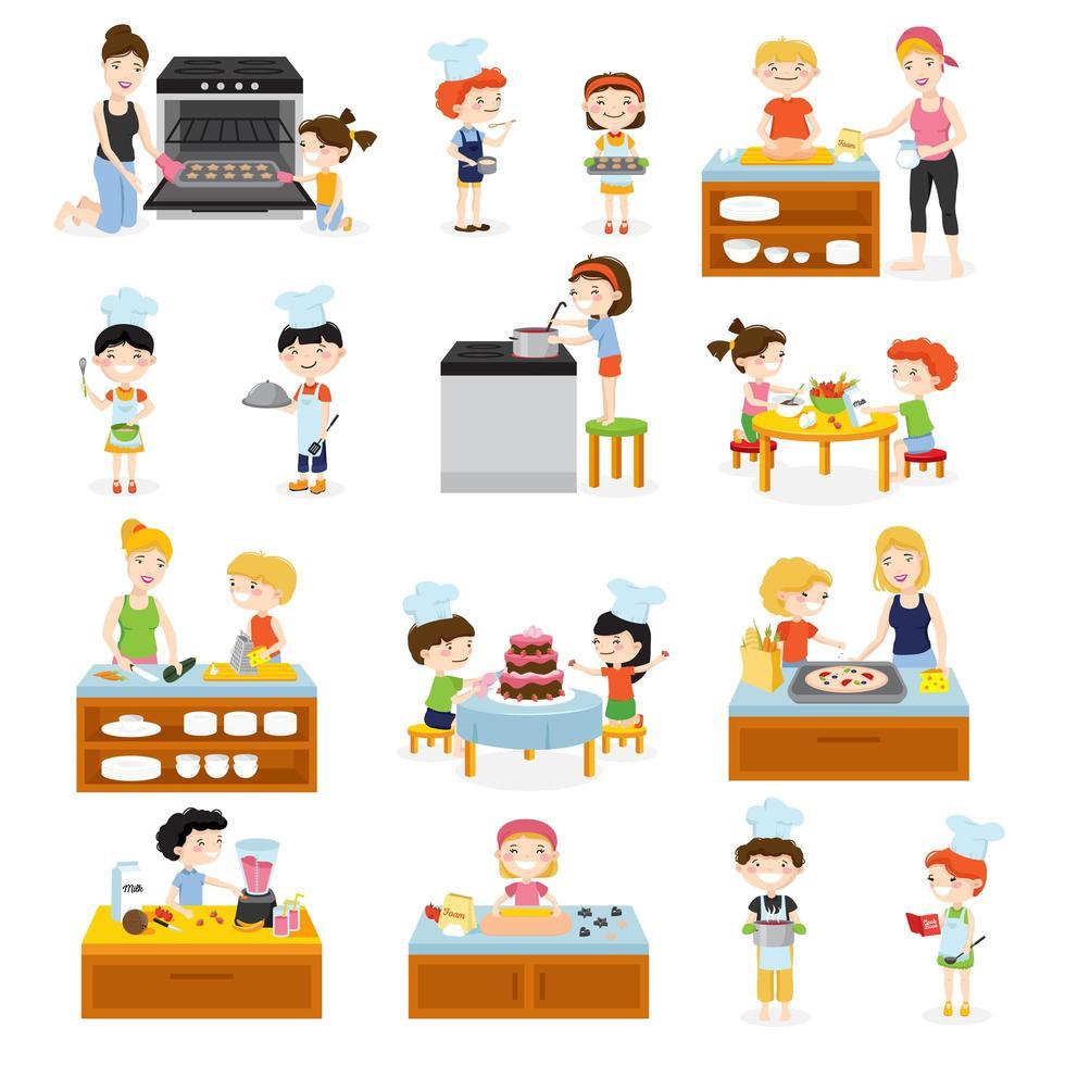 set di cartoni animati per bambini in cucina vettore