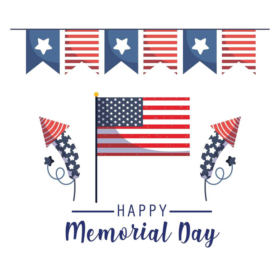 bandiera, fuochi d'artificio e gagliardetto del memorial day vettore