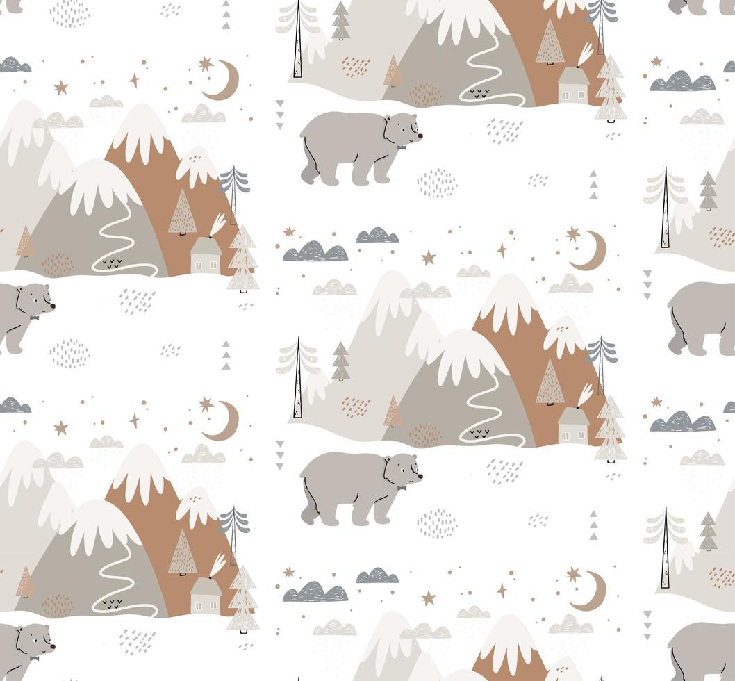 orso disegnato a mano nel modello di stile scandinavo invernale vettore