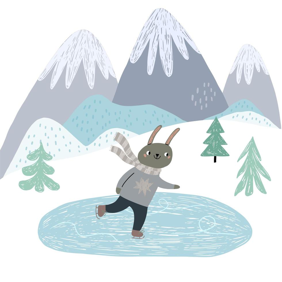 carino coniglietto pattinaggio su ghiaccio scena invernale di montagna vettore