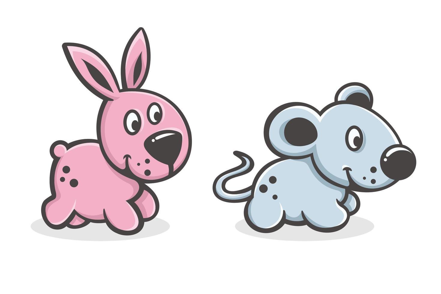 set di cute cartoon baby coniglio e topo vettore